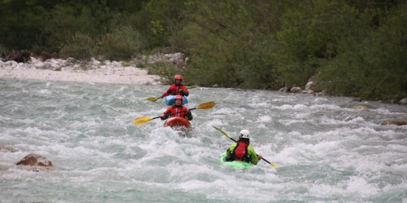 Kayak courses on the crystal clear Soča river